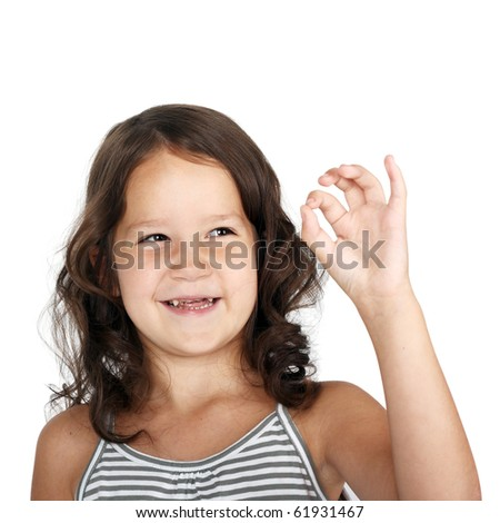 cute little child showing OK sign