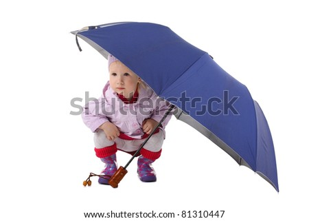 cute little child sitting under the big umbrella