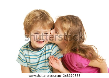 Cute little children kissing