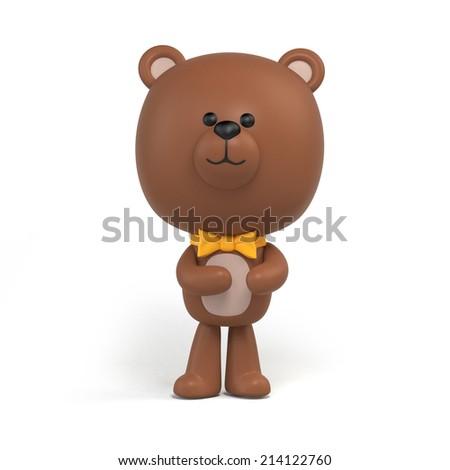 cute little chocolate teddy bear illustration, toy clip art isolated on white, 3d cartoon character design - stock photo