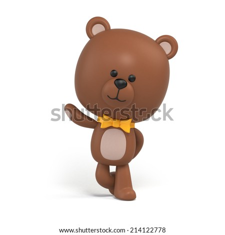 cute little chocolate teddy bear illustration, toy clip art isolated on white, 3d cartoon character design - stock photo