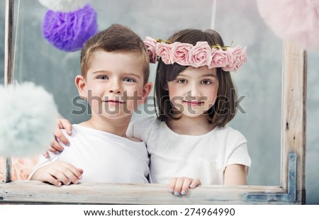 Cute little couple - stock photo