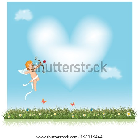 Cute little cupid aiming an arrow at a heart shaped cloud. jpg. - stock photo