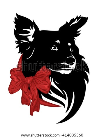 cute little dog with red ribbon bow design