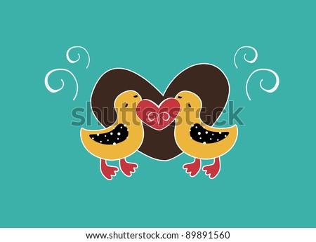 Cute little  ducks in love - stock photo