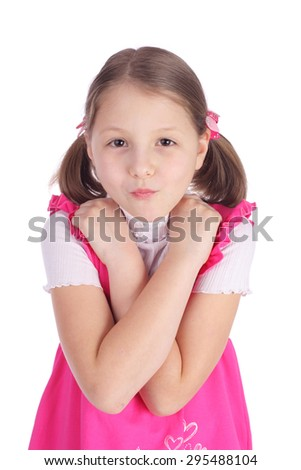 cute little emotional girl closeup - stock photo