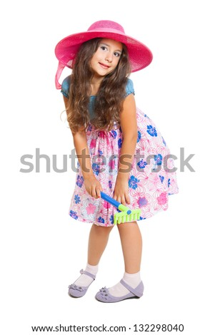 cute little girl as a gardener isolated on white - stock photo