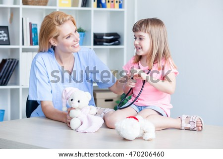 Cute little girl at doctor's office