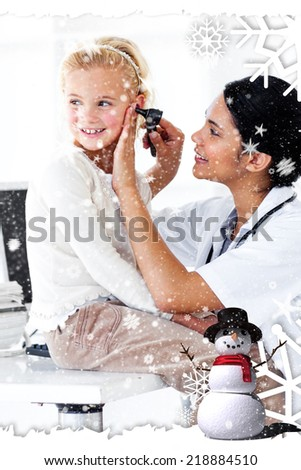 Cute little girl attending a medical checkup against snow falling - stock photo