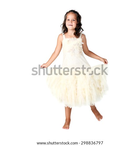 cute little girl dancing in studio