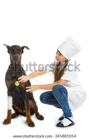 Cute little girl dressed like doctor treated dog or doberman isolated on white background. Veterinary concept