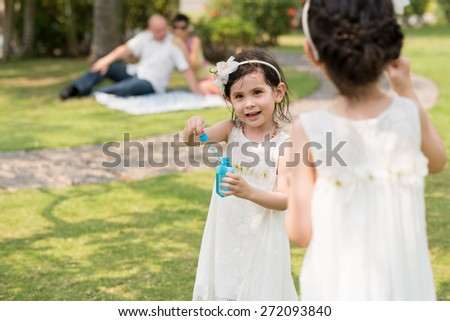 Cute little girl enjoying blowing soap bubbles at the family picnic - stock photo