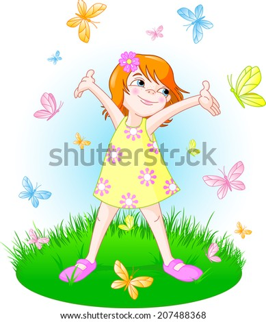 Cute little girl enjoying on the summer meadow surrounded by butterfly. Raster version.   - stock photo