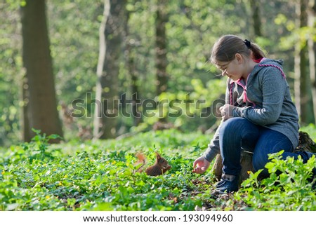 Cute little girl feeding squirrel at park - stock photo