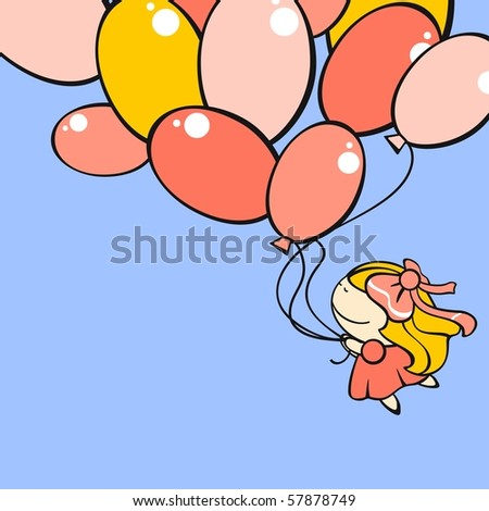 Cute little girl flying with the balloons (raster version) - stock photo