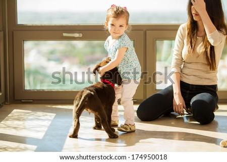 Cute little girl giving his Labrador puppy a hug and having fun - stock photo
