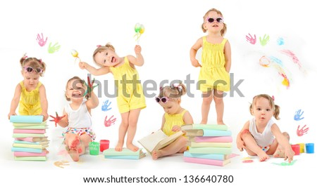 cute little girl having fun - stock photo
