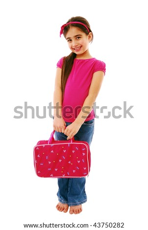 Cute little girl holding bag isolated on white