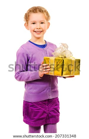 Cute little girl holding boxes with presents and smiling at camera. Isolated over white. - stock photo