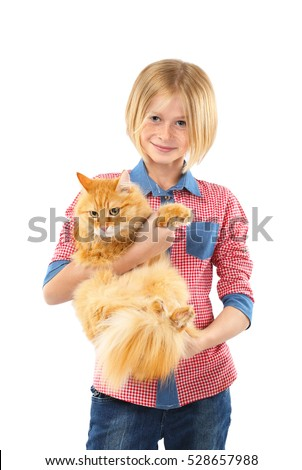 Cute little girl holding red fluffy cat isolated on white