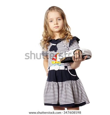 cute little girl in a marine dress