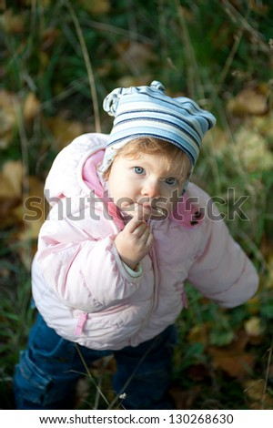 Cute little girl in a pink jacket and blue cap in autumn park / Cute little girl  in autumn park