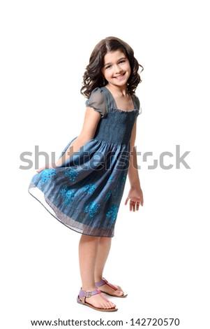 cute little girl in blue dress - stock photo