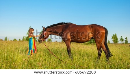cute little girl in bright dress stroking horse in field amongst grass
