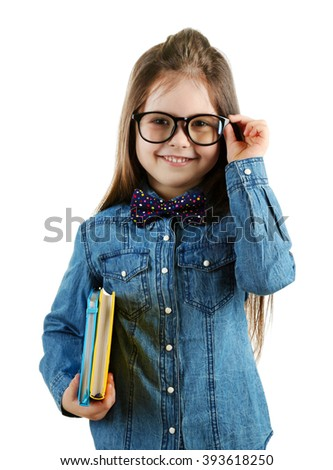 Cute little girl in glasses with notebooks isolated on white