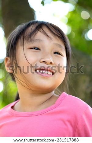 cute  little girl  in nature - stock photo