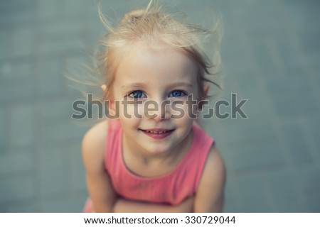 Cute little girl in pink - stock photo