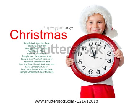 cute little girl in santa cap and clock isolated oin white with sample text - stock photo