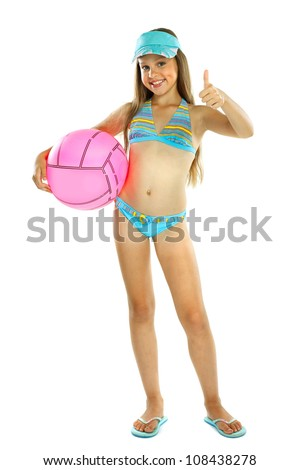 cute little girl in swimming suit with a ball, isolated on a white background