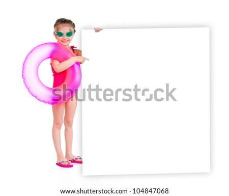 cute little girl in swimming suit with white banner
