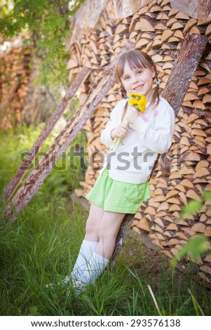 Cute little girl in the village in summer day. - stock photo