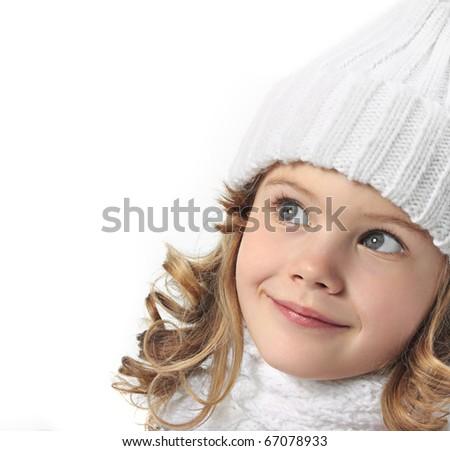 cute little girl in warm hat - stock photo