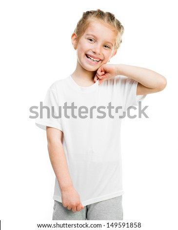 Cute little girl in white tshirt isolated on a white background in studio