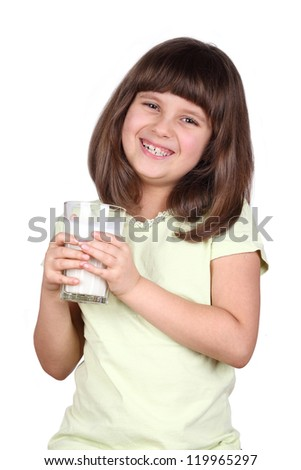 Cute little girl is holding big glass of milk