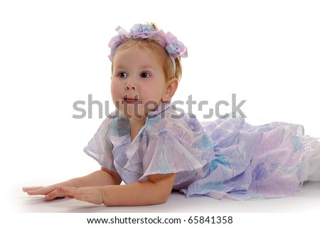 Cute little girl isolated on white