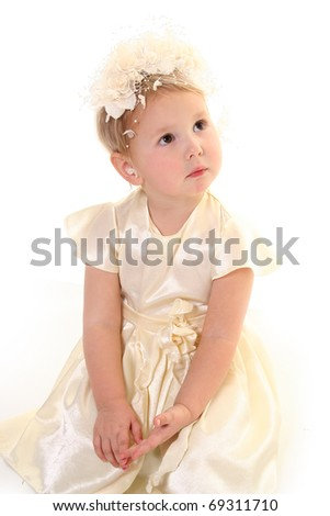 cute little girl isolated on white - stock photo