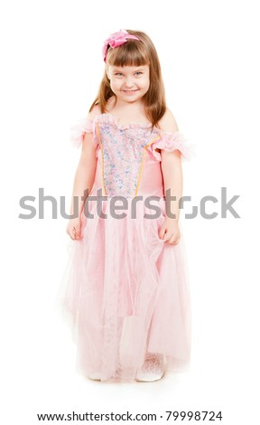 cute little girl isolated on white background