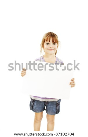 Cute little girl isolated on white background holding sign - stock photo
