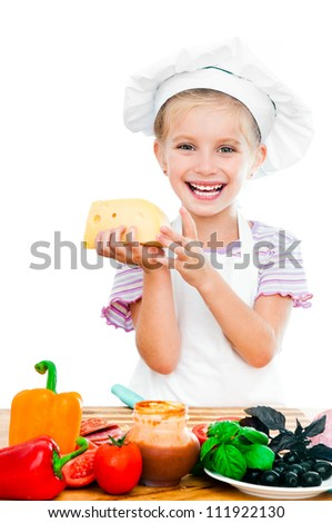 cute little girl little girl holding cheese on a white - stock photo