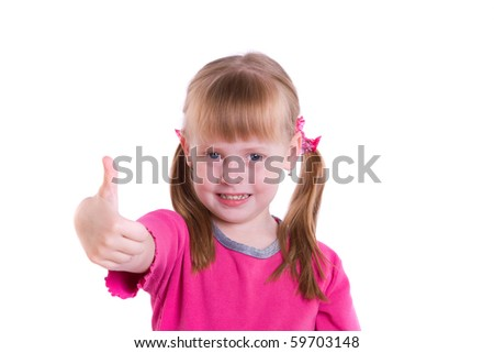 Cute little girl looking up at the camera and showing the all OK sign isolated on white. Child doing the ok sign smiling - stock photo