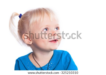Cute little girl on a white background close-up