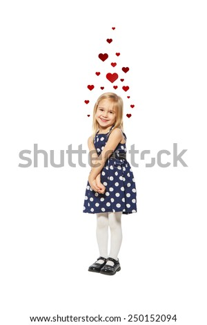 Cute little girl on a white background with emotions and hearts - stock photo