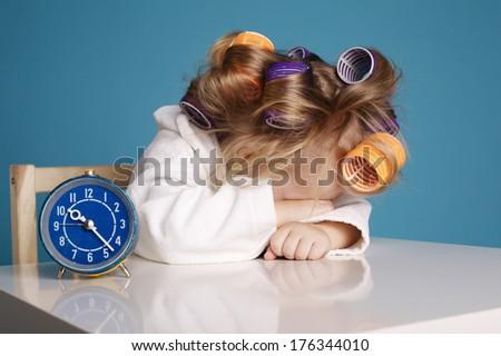 cute little girl on morning. studio shot - stock photo
