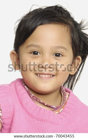 Cute little girl on white - stock photo