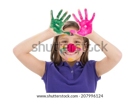 cute little girl playing with paint. small kid showing hands and smiling - stock photo