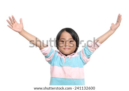 cute little girl raising hands isolated on white background - stock photo